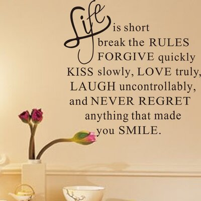 Life is Short Break the Rules Wall Decal ZY1303