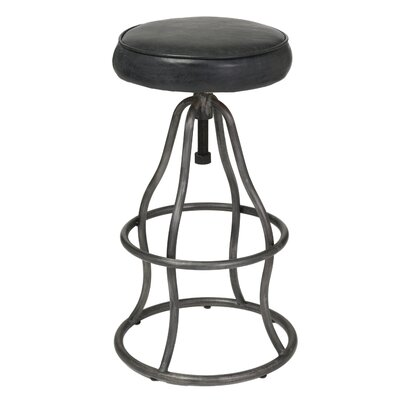 Bernardo Adjustable Height Swivel Bar Stool Upholstery: Distressed Black
