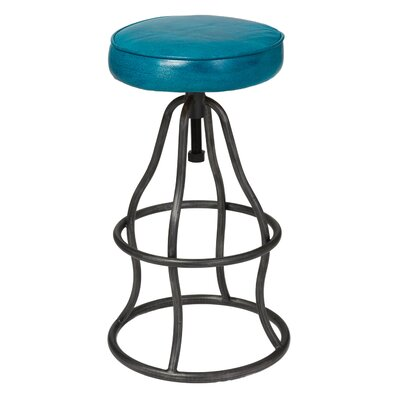 Bernardo Adjustable Height Swivel Bar Stool Upholstery: Peacock Blue