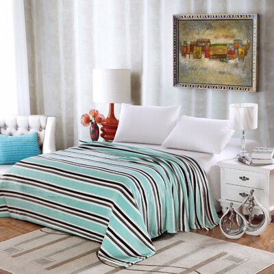 Ultra Comfort Contemporary Style Micro-Fleece Blanket Size: Twin, Color: Aqua