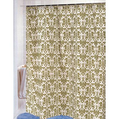 Damask Shower Curtain Color: Sage/Ivory