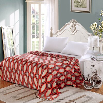 Ultra Comfort Contemporary Style Micro-Fleece Blanket Size: Queen, Color: Orange