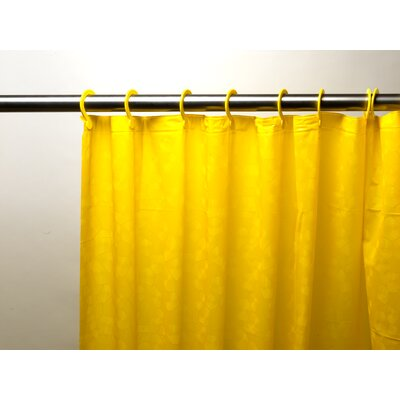 Embossed PEVA Shower Curtain with Built-in Hooks Color: Yellow