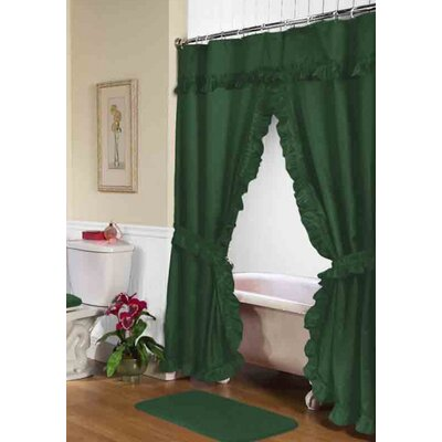 Parish Double Swag Shower Curtain Color: Evergreen