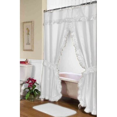 Parish Double Swag Shower Curtain Color: White