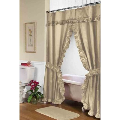 Parish Double Swag Shower Curtain Color: Linen
