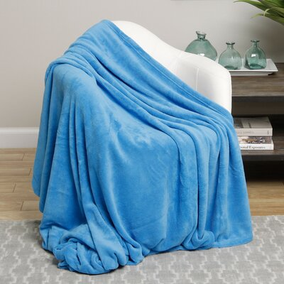 Microplush Blanket Size: Twin, Color: Light Blue