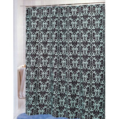 Damask Shower Curtain Color: Chocolate/Blue