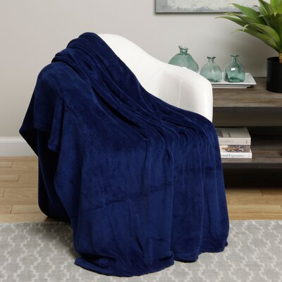 Microplush Blanket Size: Twin, Color: Navy