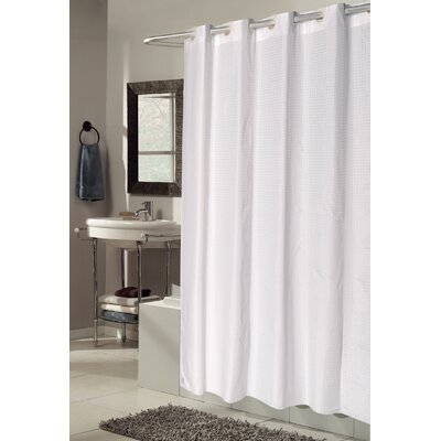 EZ-ON Checks Shower Curtain Color: White