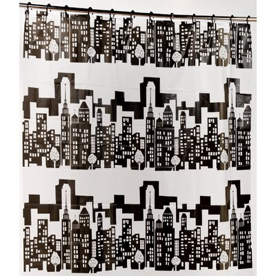 Cityscape PEVA Shower Curtain with Built in Hooks