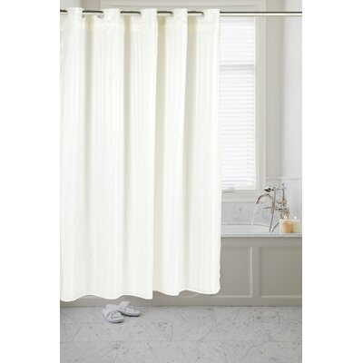 Pre Hooked� Satin Stripe Shower Curtain Color: Ivory