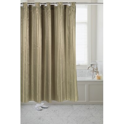 Pre Hooked Satin Stripe Shower Curtain Color: Sage