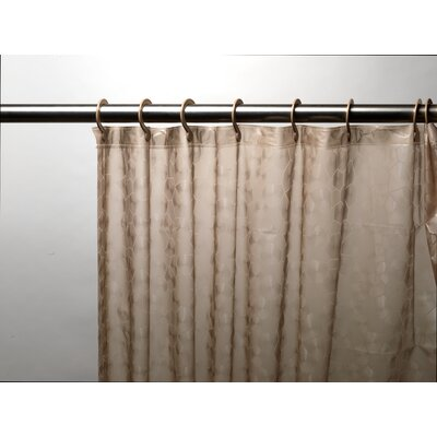 Embossed PEVA Shower Curtain with Built-in Hooks Color: Brown