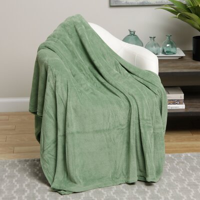 Microplush Blanket Size: Full, Color: Light Green