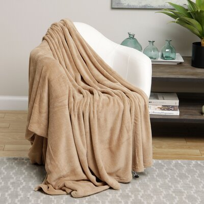 Microplush Blanket Size: King, Color: Tan