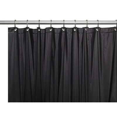 Vinyl 10 Gauge Shower Curtain Liner with Metal Grommets and Reinforced Mesh Header Color: Black