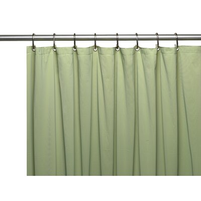Vinyl 10 Gauge Shower Curtain Liner with Metal Grommets and Reinforced Mesh Header Color: Sage
