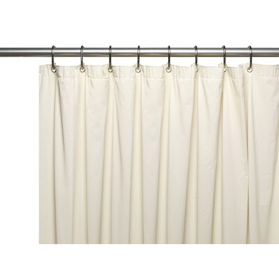 Vinyl 10 Gauge Shower Curtain Liner with Metal Grommets and Reinforced Mesh Header Color: Bone