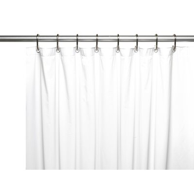 Vinyl 10 Gauge Shower Curtain Liner with Metal Grommets and Reinforced Mesh Header Color: White
