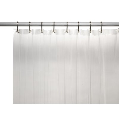 Vinyl 10 Gauge Shower Curtain Liner with Metal Grommets and Reinforced Mesh Header Color: Super Clear