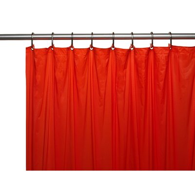 Vinyl 3 Gauge Shower Curtain Liner with Weighted Magnets and Metal Grommets Color: Red
