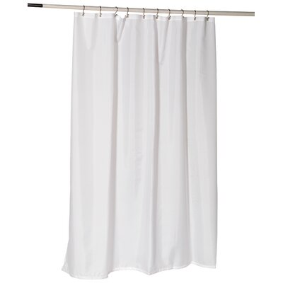 Nylon Fabric Shower Curtain Liner with Reinforced Header and Metal Grommets Color: White
