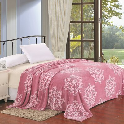 Snowflake Design Throw Blanket Size: King, Color: Pink
