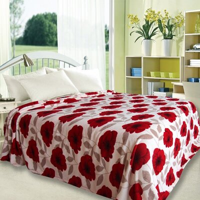 Primrose Design Throw Blanket Size: Full, Color: Red