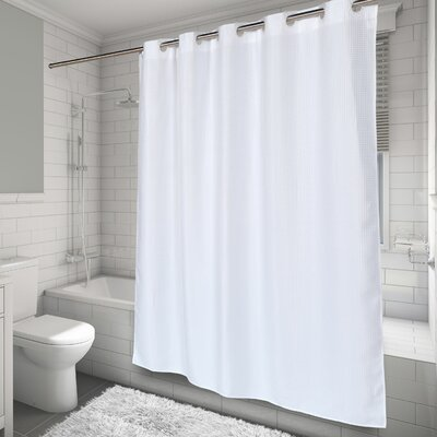 EZ-ON� Waffle Weave Shower Curtain Color: White