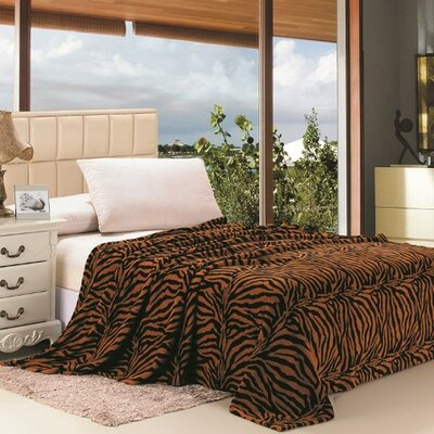 Safari Animal Print Zebra Microplush Blanket Size: Twin, Color: Brown