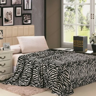 Safari Animal Print Zebra Microplush Blanket Size: Twin, Color: Black/White