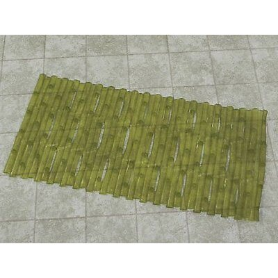 Bamboo Look Vinyl Bath Rug Color: Green