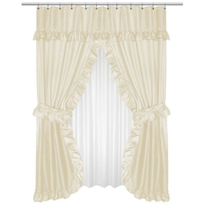 Parish Double Swag Shower Curtain Color: Ivory