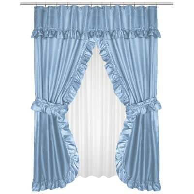 Lauren Double Swag Shower Curtain Color: Light Blue