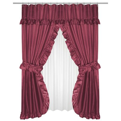 Parish Double Swag Shower Curtain Color: Burgundy