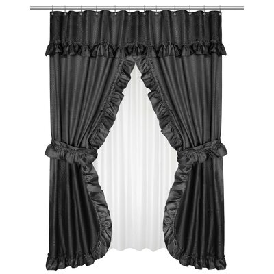 Parish Double Swag Shower Curtain Color: Black