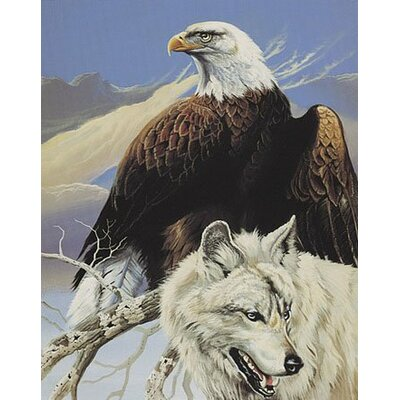 Royal Plush Extra Heavy Queen Size Top Hunters - Wolf and Eagle Blanket
