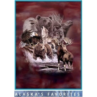 Royal Plush Extra Heavy Queen Size Alaskan Animals Blanket