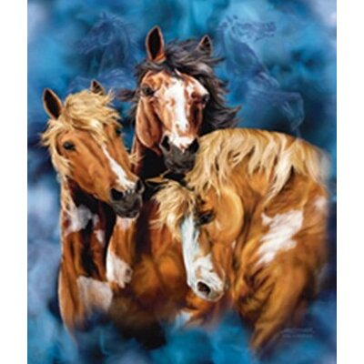 Royal Plush Extra Heavy Queen Size Wild Horses Blanket
