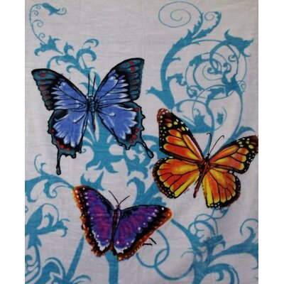 Royal Plush Extra Heavy Queen Size Fluttering Butterflies Blanket