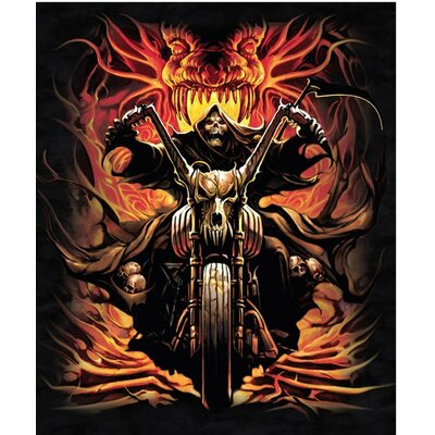 Royal Plush Extra Heavy Queen Size Grim Reaper on Bike - Skull Collector Blanket
