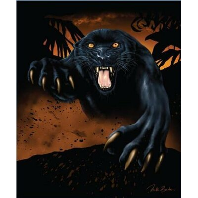 Royal Plush Extra Heavy Queen Size Snarling Panther Blanket