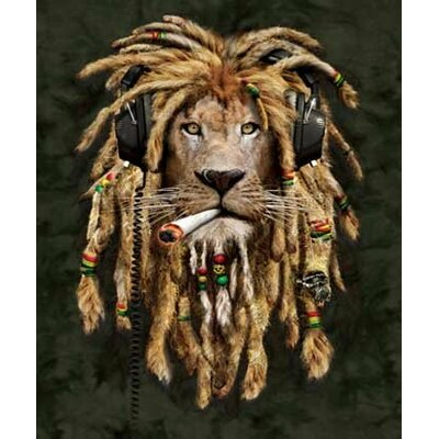 Far Out Extra Heavy Queen Size Rasta Lion Blanket