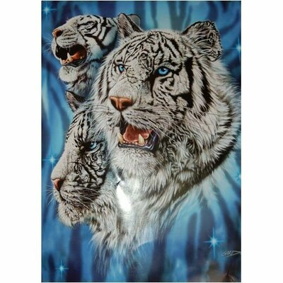 Royal Plush Extra Heavy Queen Size Fierce White Tigers Blanket