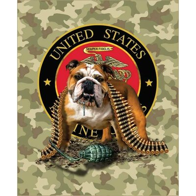 Royal Plush Extra Heavy Queen Size Patriotic Bulldog with TNT Semper Fi Blanket
