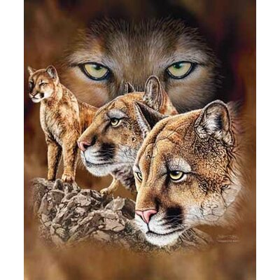 Royal Plush Extra Heavy Queen Size Cougars on the Prowl Blanket