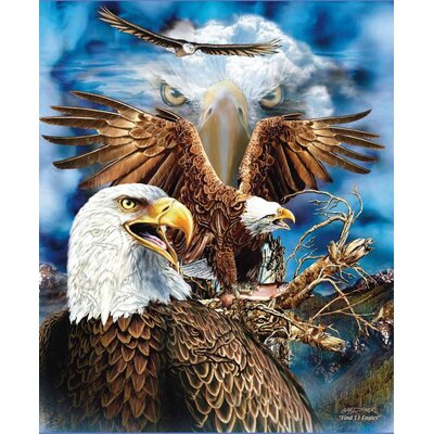Royal Plush Extra Heavy Queen Size Fierce Eagles Blanket