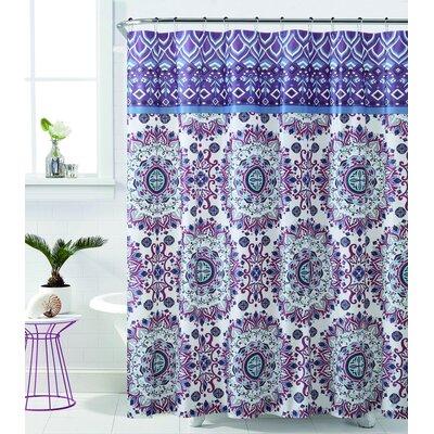 Loraine Mandala Burst Shower Curtain Color: Plum