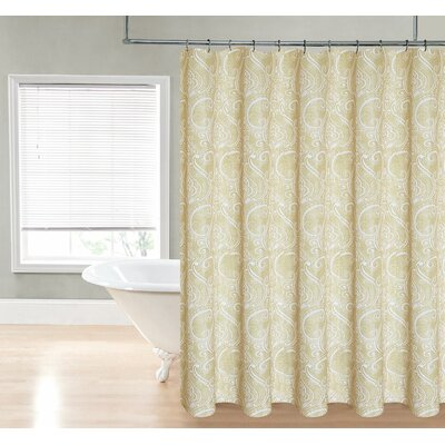 Loraine Paisley Shower Curtain Color: Gold